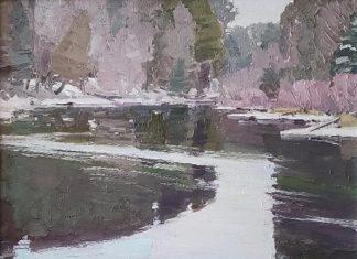 Len Chmiel Silent Flow river lake stream snow mountain landscape oil painting